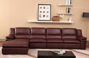 Cofonia Modern Wine Red Leather Corner Sofa